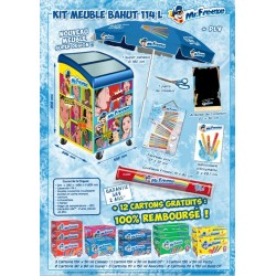 Meuble vision Mr Freeze 2020 + Plv Mr Freeze + 12 Colis Mr Freeze Assortis gratuits